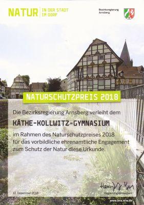 Urkunde Naturschutzpreis 2018